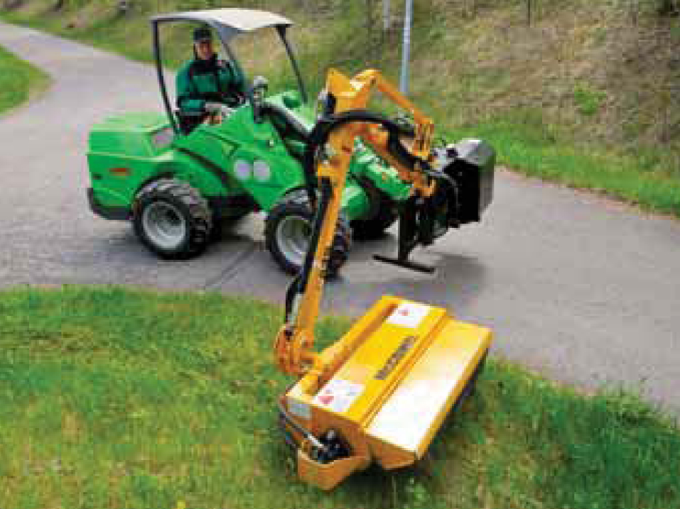 Set up with mowers, Avant loaders can get you down a sidewalk with no problem!